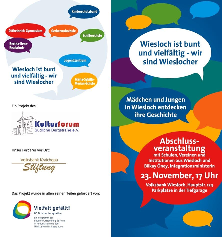 Flyer Kulturforum Suedliche Bergstrasse Wiesloch Projekt Vielfalt Grafik Design