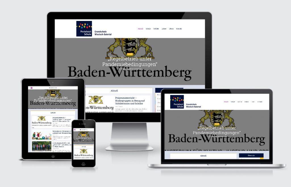 Internetseite Pestalozzi Schule Wiesloch Baiertal Webdesign
