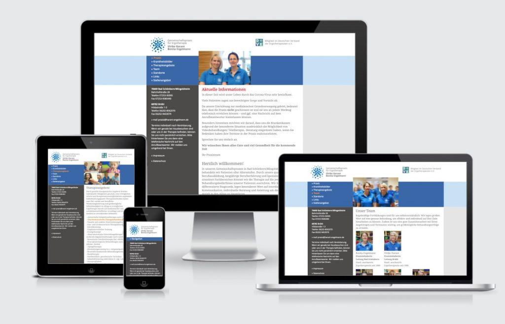 Internetauftritt Homepage Praxis Ergotherapie Mingolsheim Webdesign
