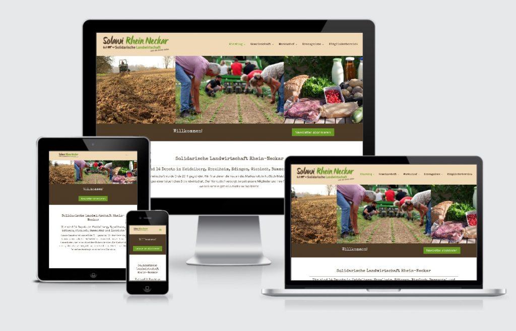 Internetseite Solidarische Landwirtschaft Rhein Neckar Heidelberg Webdesign