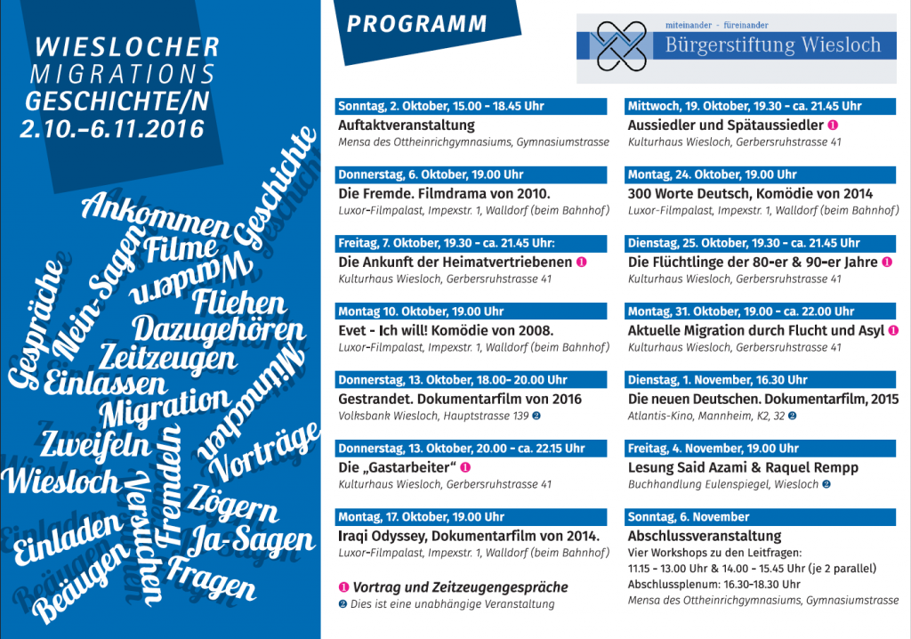 Flyer Programm Wieslocher Migrationsgeschichten